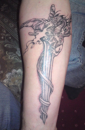 Winged Dragon And Sword Tattoos