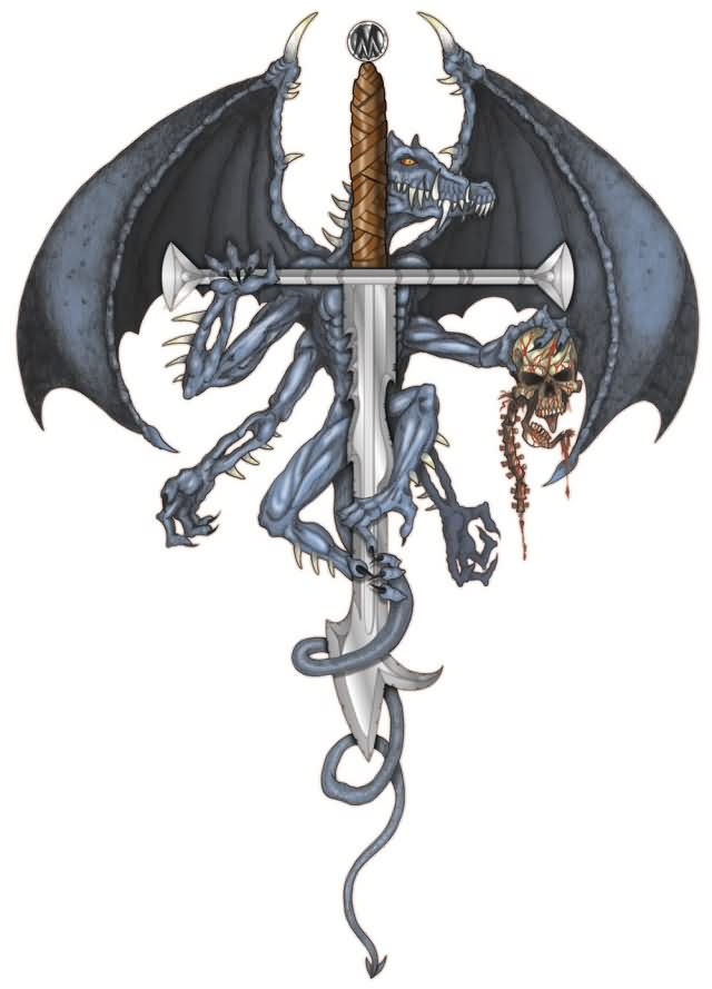Winged Dragon With Skull On Sword Tattoo Model