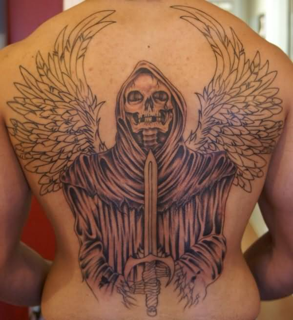 Winged Grim Reaper With Sharp Sword Tattoo On Back