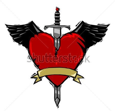 Winged Heart And Sword Tattoo In Woodcut Style