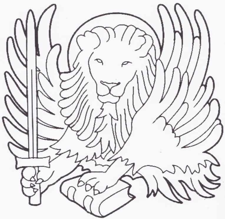 Winged Lion With Sword Uncolored Tattoo Sample