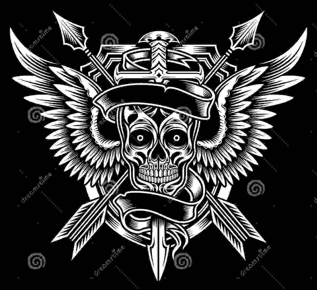 Winged Skull Sword Arrows Fully Editable Tattoo Designs