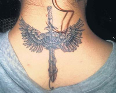 Winged Sword And Crown Tattoos On Back Neck