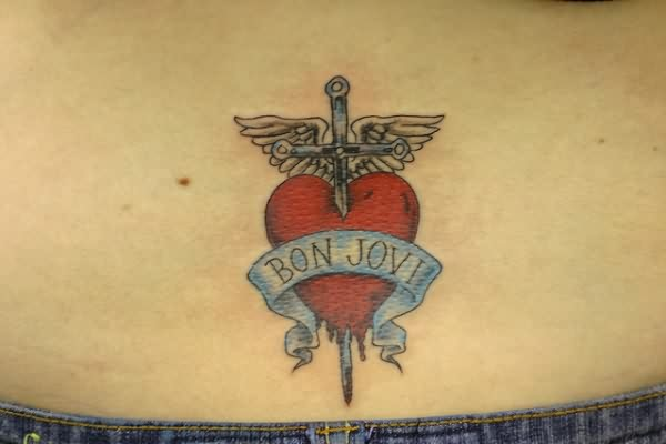 Winged Sword In Red Heart Tattoo On Waist