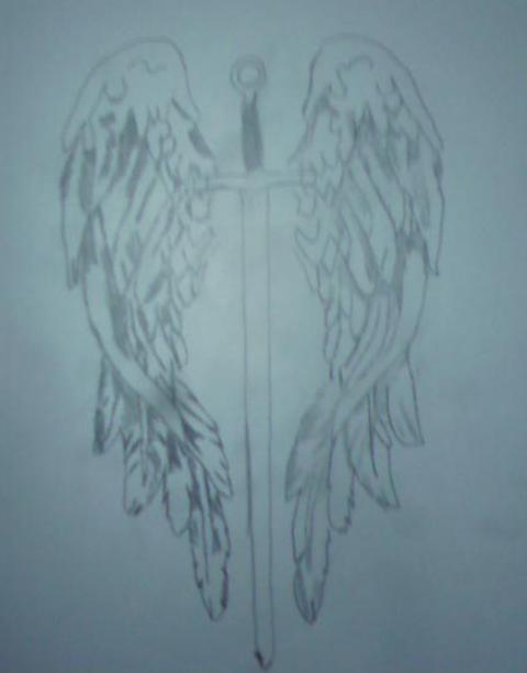 Winged Sword Tattoo Sketch
