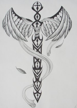 Winged Tribal Sword Tattoo Design