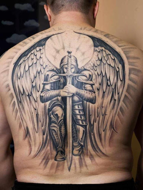 Winged Warrior With Long Sword Tattoo On Entire Back