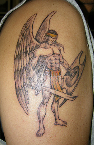 Winged Warrior With Sword Tattoo On Biceps