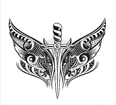 Wings Sword Tattoo Model