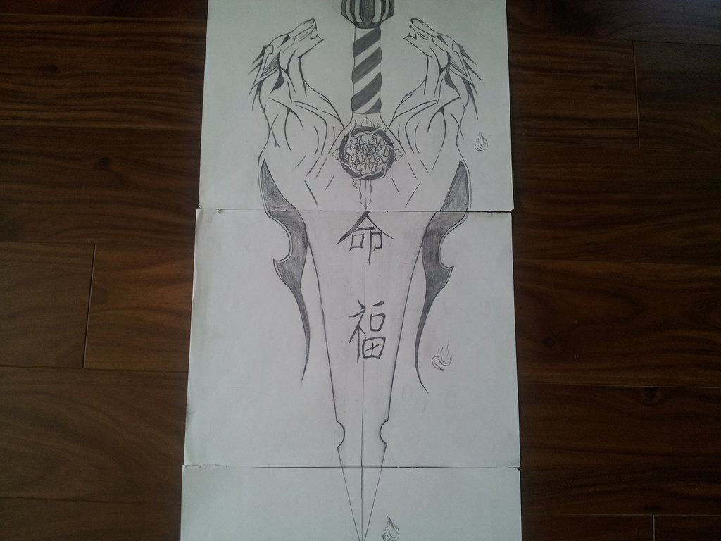 Wolf Sword Tattoo Sketch