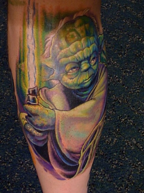 Yoda With Sword Tattoo For Boys
