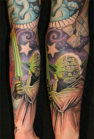 Yoda With Sword Tattoo On Sleeve