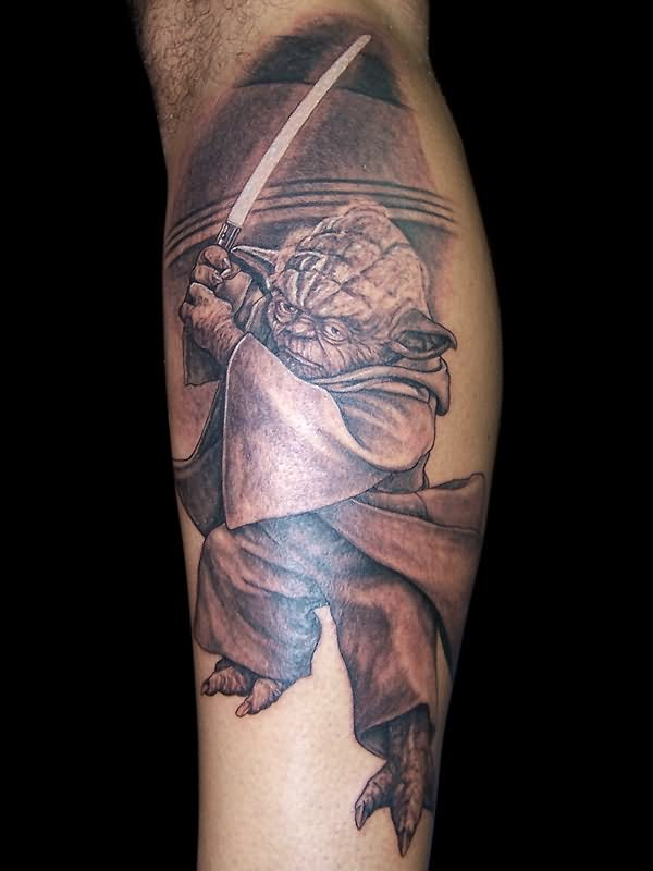 Yoda With Sword Tattoo