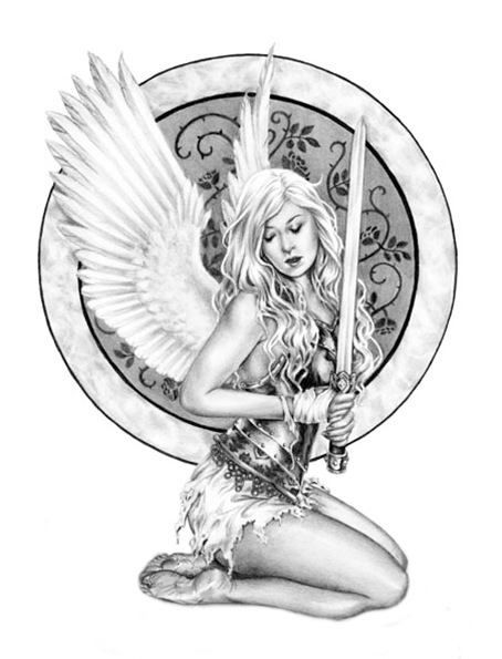 Young Angel With Sword Tattoo Design