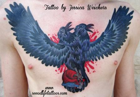 2 Headed Crow Heart Chestpiece Tattoo