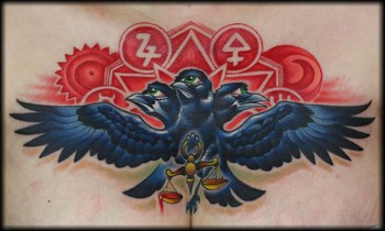 3 Headed Crow With Justice Scale Tattoo On Chest