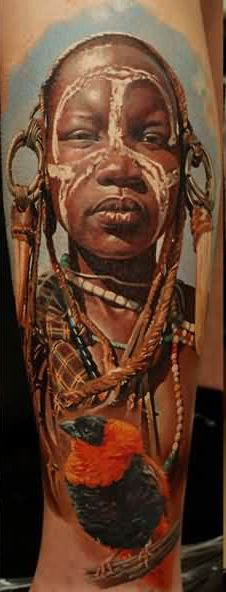 3D African People And Bird Tattoos