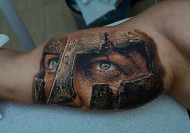 3D Ancient Warrior Eyes Tattoos