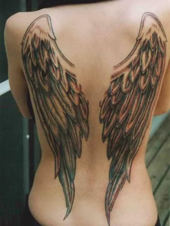 3D Angel Wings Pair Tattoos On Back