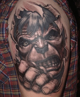 3D Angry Hulk Ripping Skin Tattoo On Half Sleeve