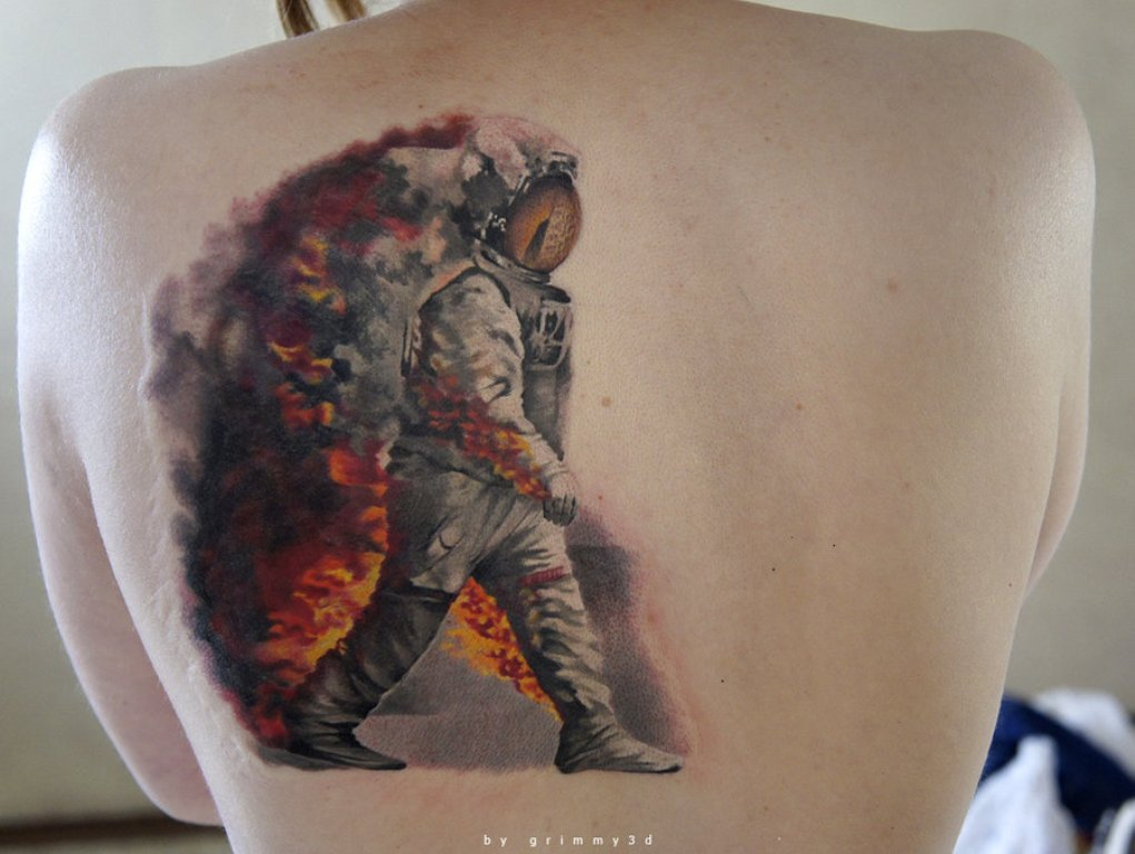 3D Astronaut On Fire Walking Tattoo On Back