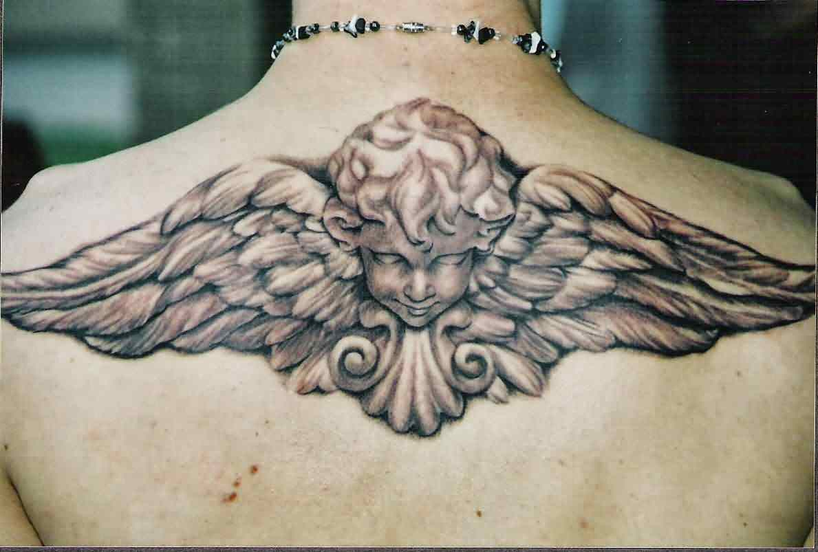 3D Baby Angel Tattoo On Upperback