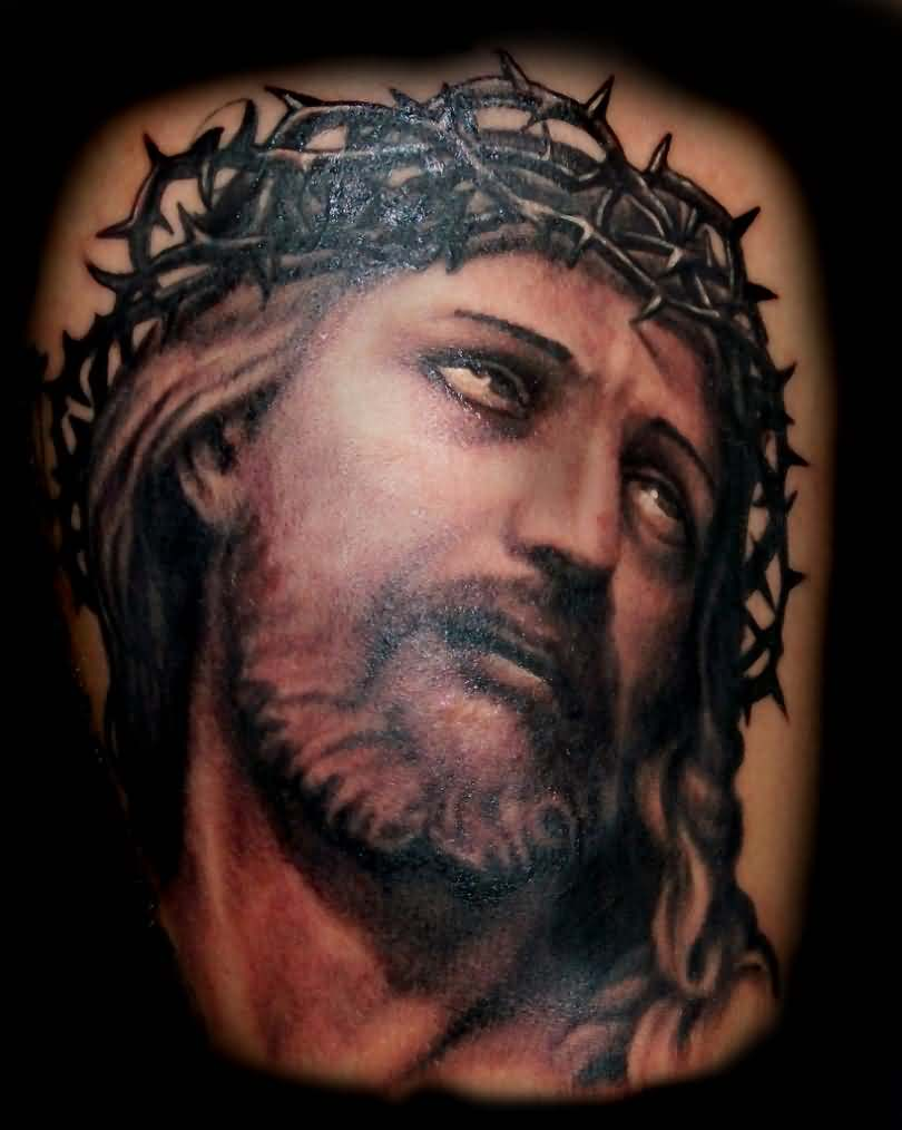 3D Barbed Christian God Portrait Tattoo