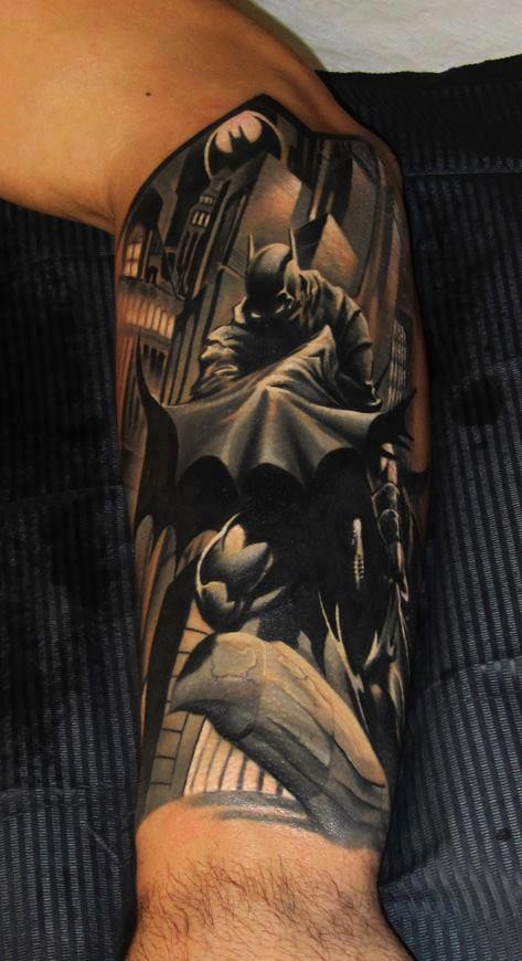 3D Batman In City Tattoo On Sleeve
