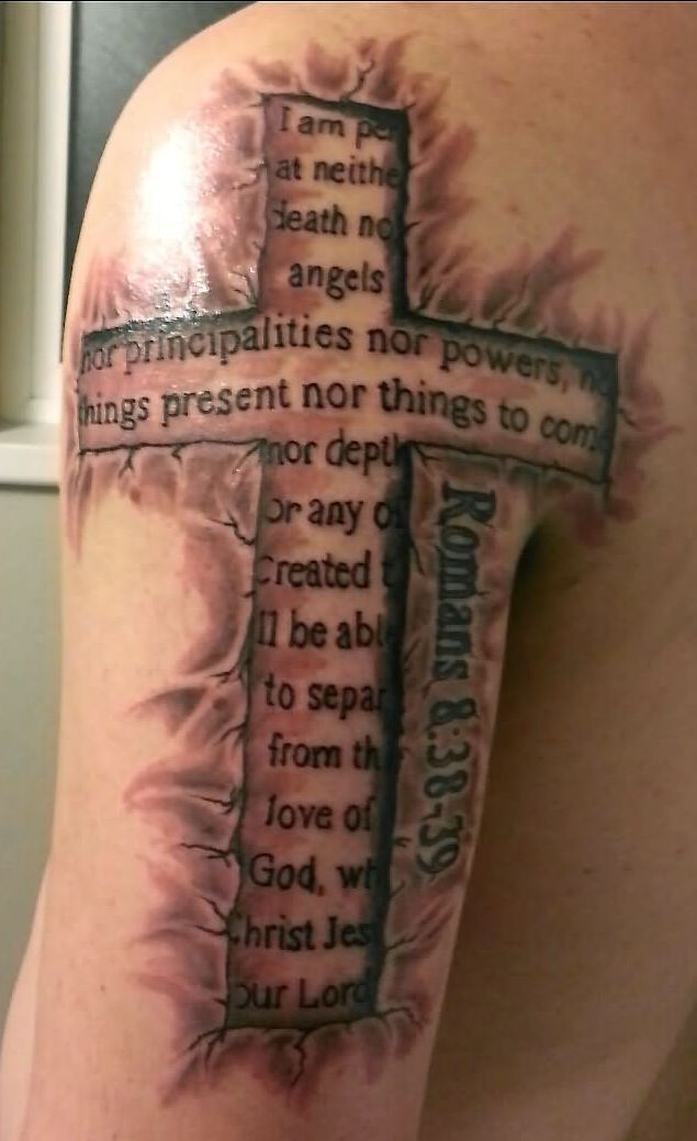3D Bible Verse Cross Tattoo On Arm