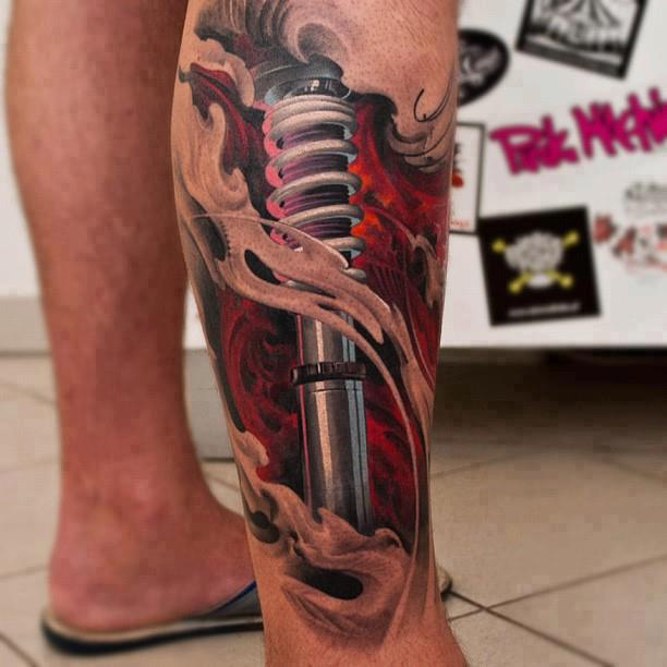 3D Bike Shocker Rip Skin Tattoo On Leg