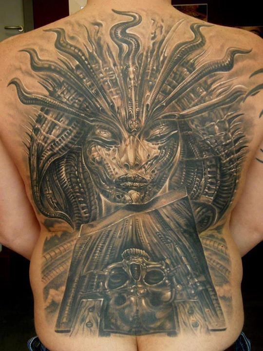 3D Biomechanical Lady Tattoo On The Back