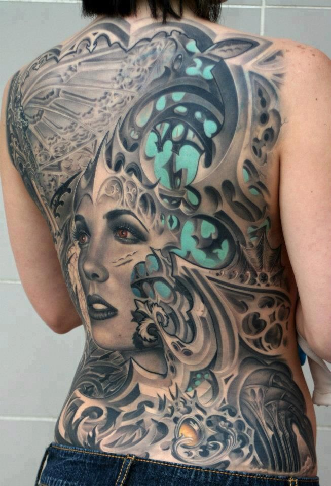 3D Biomechanical Lady Tattoo On Whole Back