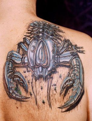 3D Biomechanical Scorpion Tattoo On Right Back Shoulder