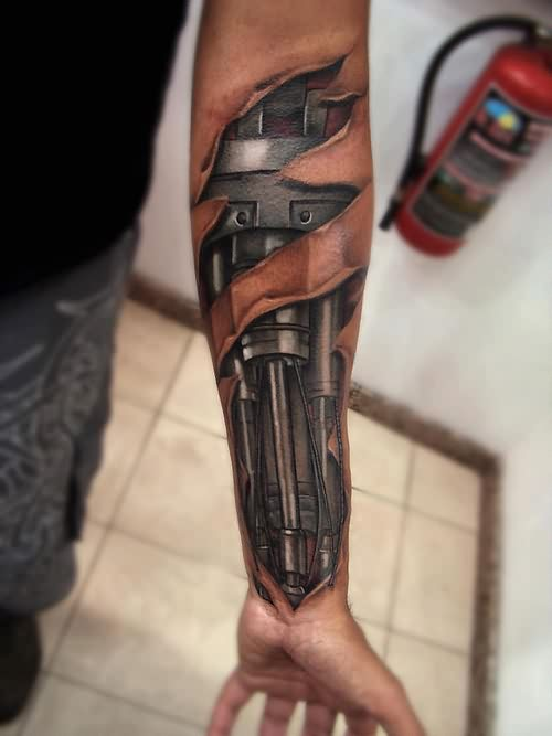 3D Biomechanical Tattoo On Forearm