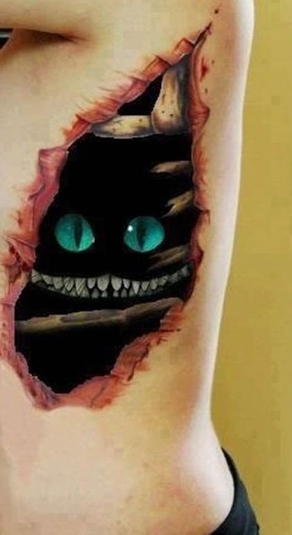 3D Black Cat Skin Rip Tattoo On Side