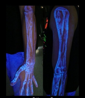 3D Blacklight Skeleton Arm Tattoo