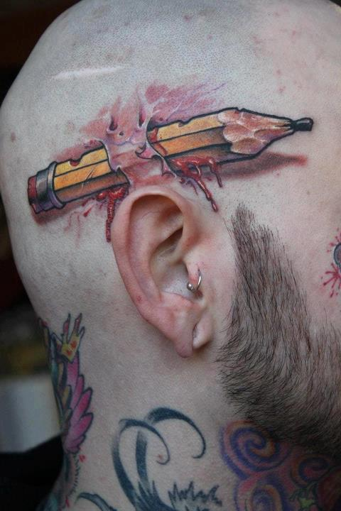 3D Bleeding Pencil Tattoo On Head