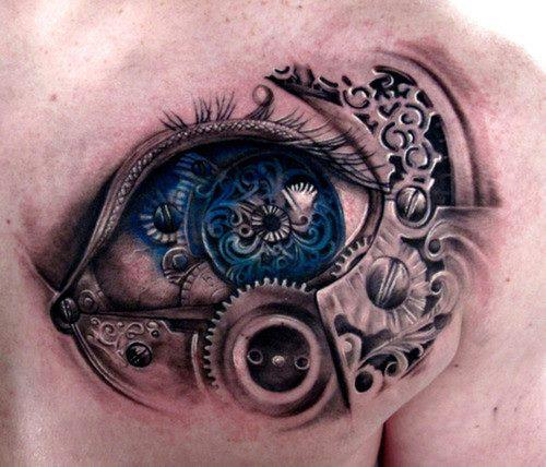 3D Blue Biomechanical Eye Tattoo On Chest