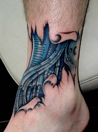 3D Blue Biomechanical Tattoo On Left Ankle