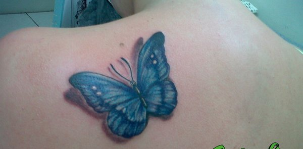 3D Blue Butterfly Tattoo For Women
