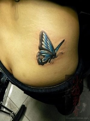 3D Blue Butterfly Tattoo On Right Waist