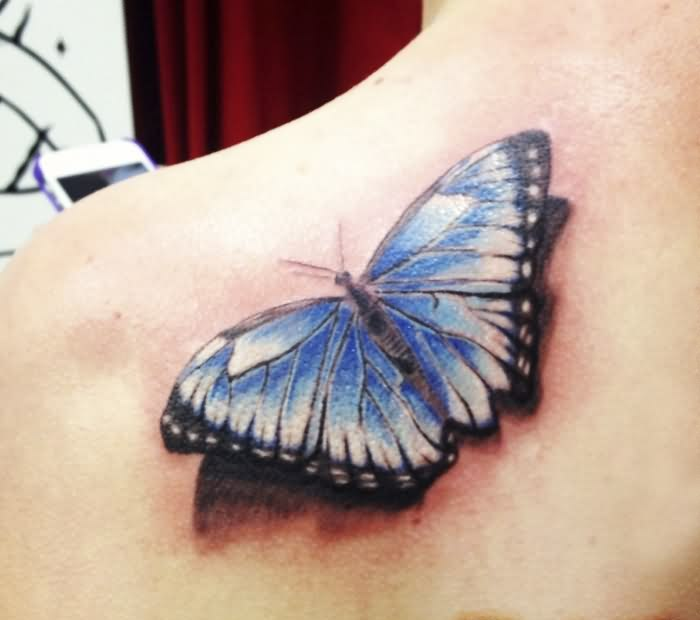 3D Blue Butterfly Tattoo