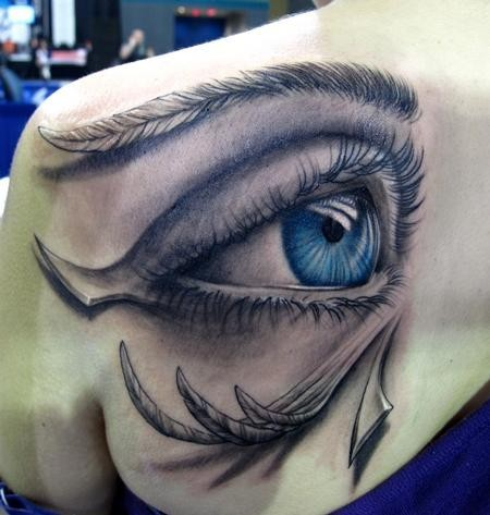 3D Blue Open Eye Tattoo On Left Back Shoulder