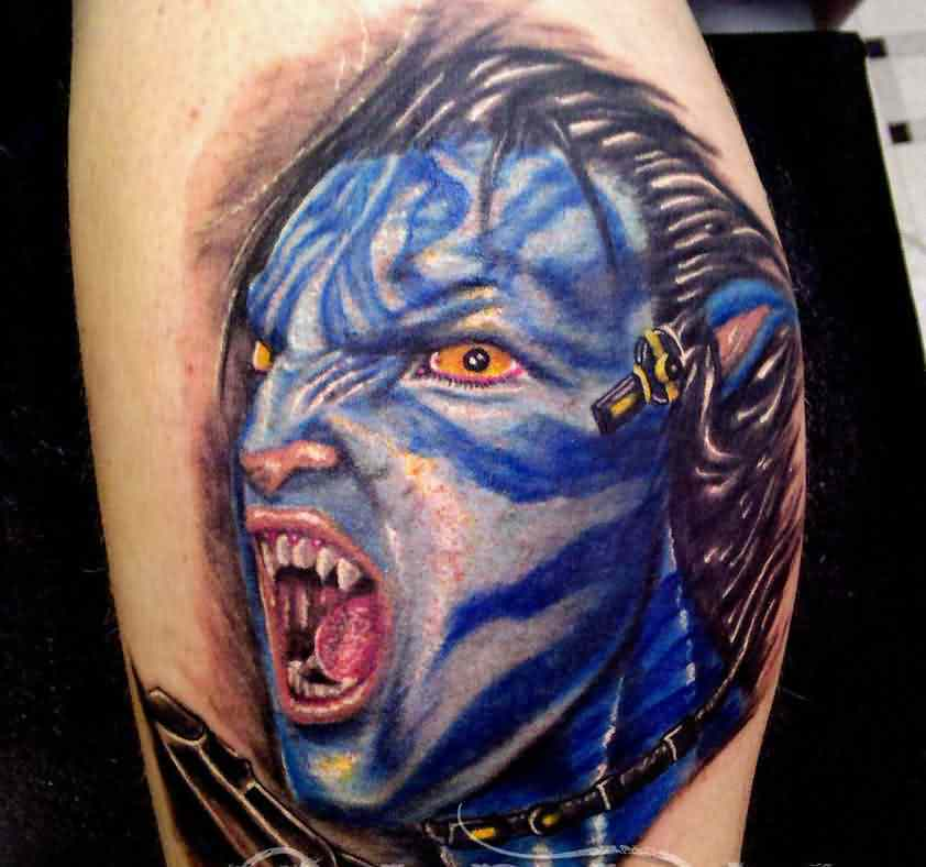 3D Blue Scary Horror Face Tattoo