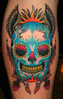 3D Blue Sugar Skull With Wings Tattoo