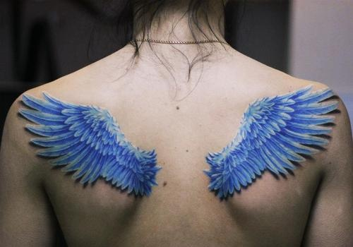 3D Blue Wings Pair Tattoos On Upperback