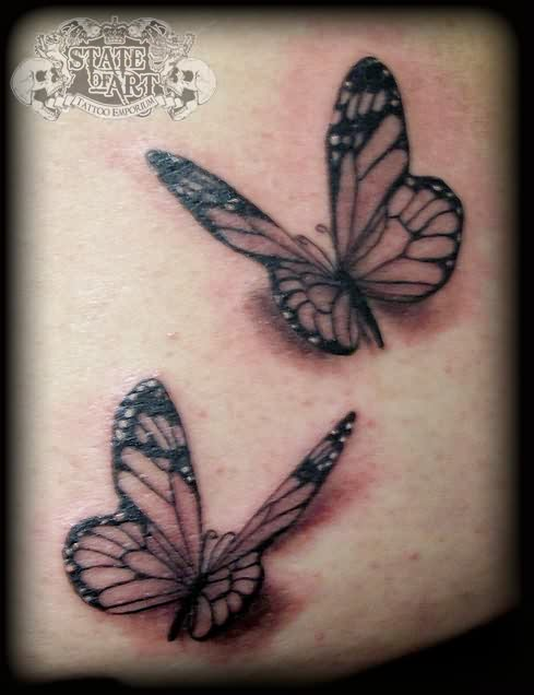 3D Butterflies By State Of Art Tattoos