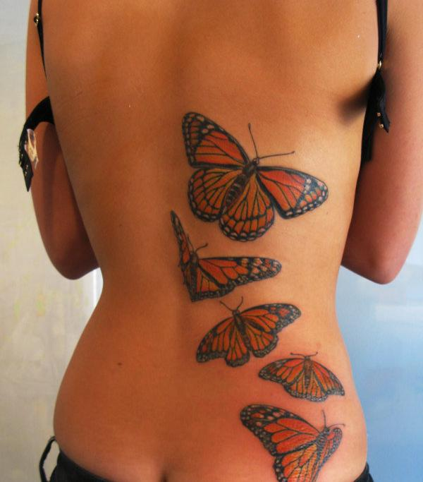 3D Butterflies Tattoos On Topless Back
