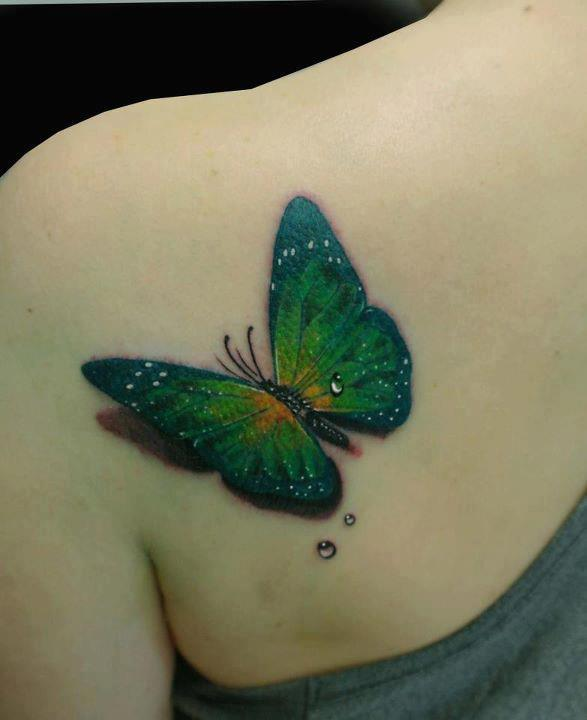 3D Butterfly And Dewdrops Tattoos On Left Back Shoulder
