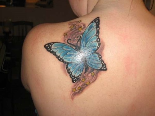 3D Butterfly And Tiny Stars Tattoos On Left Back Shoulder